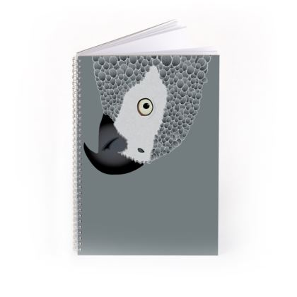 Cheeky African Grey Parrot [CHARCOAL GREY] Spiral Notebook
