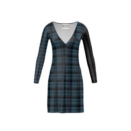 Clan - Long Sleeve Full Length Button Up Front Dress Blue Tartan