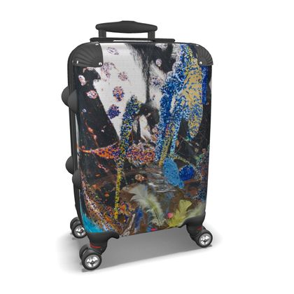 Suitcase with Glitter and Feathers