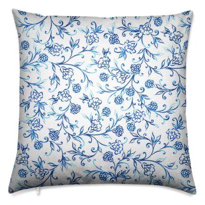 Luxury Twill Cushion, Sarasa Flower Swirl