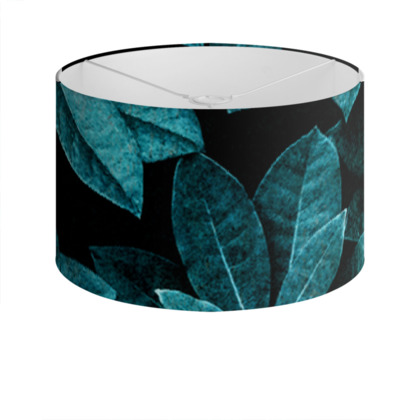 Teal Leaves - Drum Lamp Shade