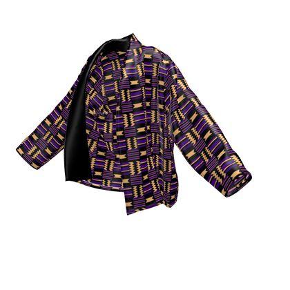 Royal Kente Wrap Blazer - Purple