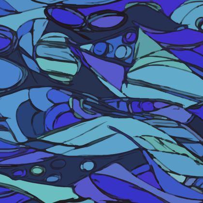 Blue doodle glasses case