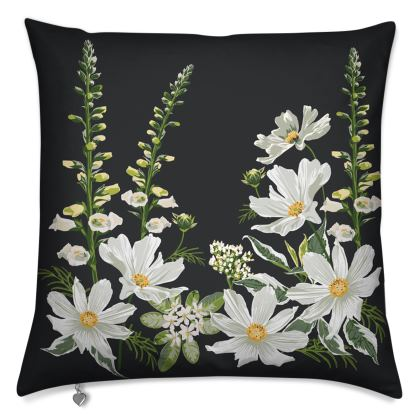 Luxury Cushion with White Floral Design