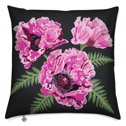 Luxury Cushion with Gorgeous Pink Poppy Design