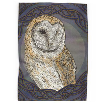 Celtic Barn Owl Tea Towel