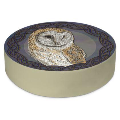 Celtic Barn Owl Round Floor Cushion