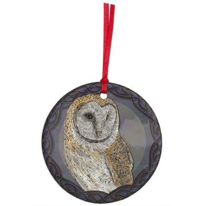 Celtic Barn Owl Hanging Ornament