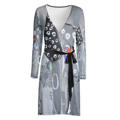 Paper Painting Forest Wrap Dress