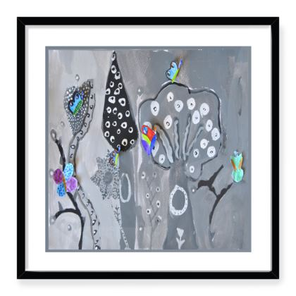 Paper Painting Forest Framed Art Prints