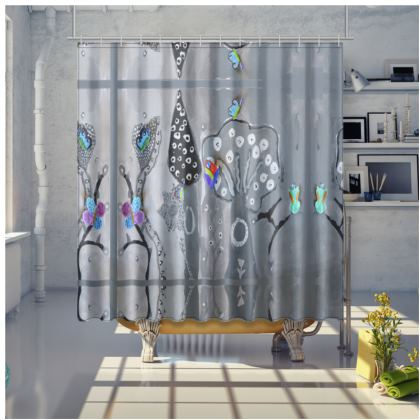 Paper Painting Forest Shower Curtain