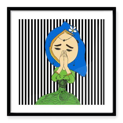 Namaste Mandhala with girl Framed Art Prints