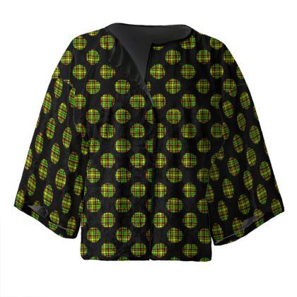 Plaid Spots Kimono Jacket