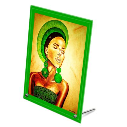 Green Portrait Glass Print