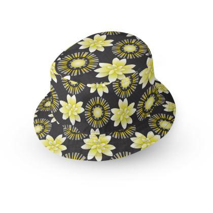 Design Flowers Blanco Negro Dots Bucket Hat