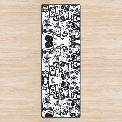 Black and White Faces by Elisavet Yoga Mat