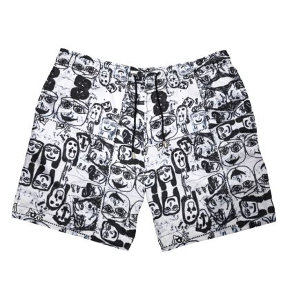 Black and White Faces by Elisavet Mens Swimming Shorts