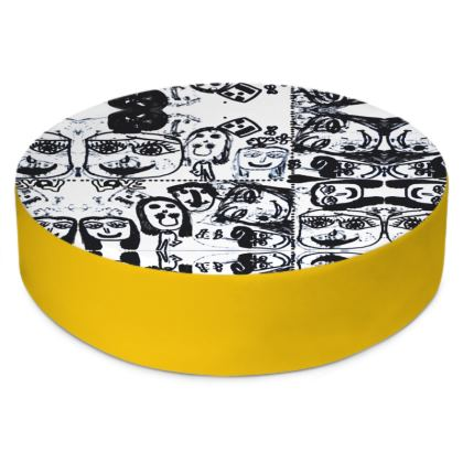 Black and White Faces by Elisavet Round Floor Cushions