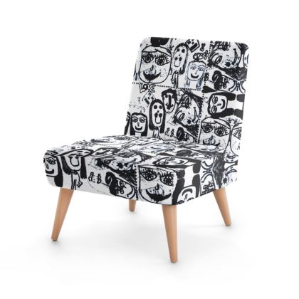 Black and White Faces by Elisavet Occasional Chair