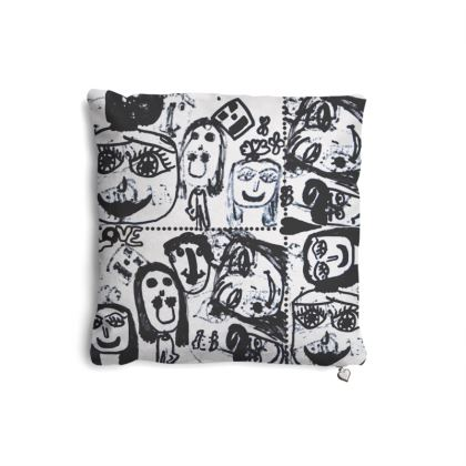 Black and White Faces by Elisavet Pillows set