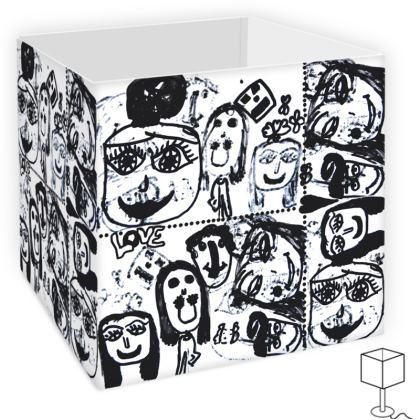 Black and White Faces by Elisavet Square Lamp Shade