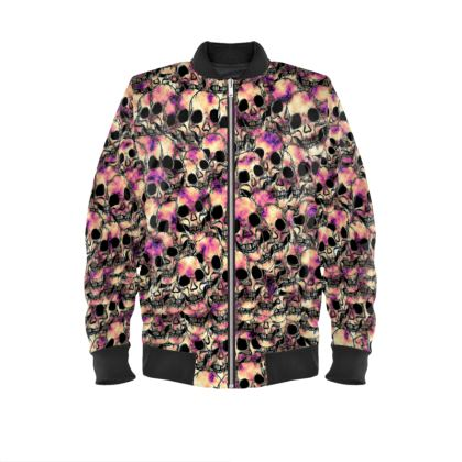 Pink Skulls Ladies Bomber Jacket