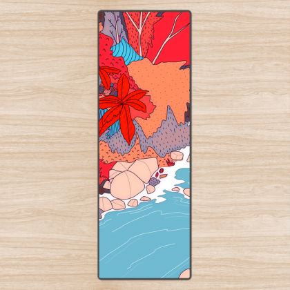 An autumn river stream - Yoga mat