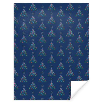 Christmas Trees Pattern Navy Gift Wrap
