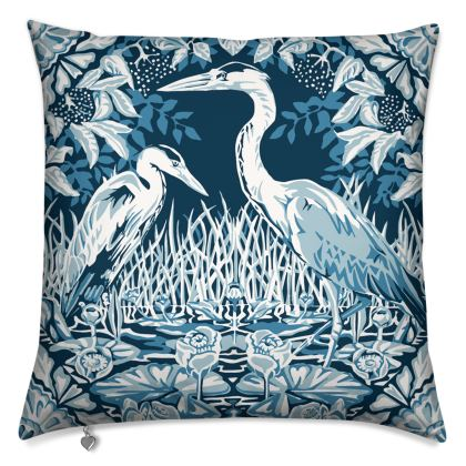 Luxury cushion with blue and white Heron Design