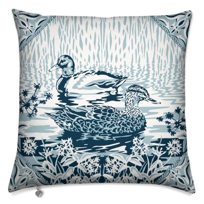 Luxury Cushion with Blue and White Duck design