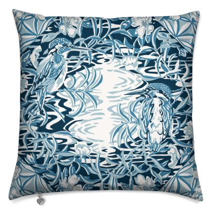 Luxury Cushion with Blue and White Kingfisher Design