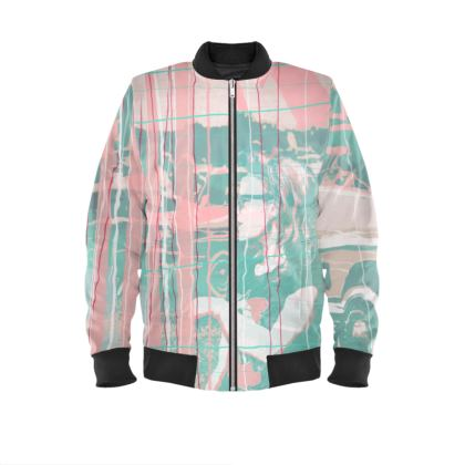 Bomber Jacket with Vintage Car Print in Pink and Green