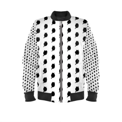 Bomber Jacket with Logo Print in Black and White