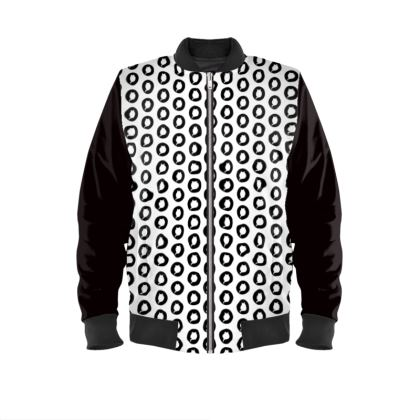 Bomber Jacket with Logo Print in White and Black Back