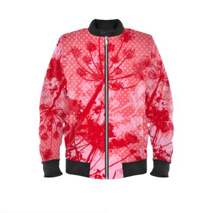 Bomber Jacket - Floral in RED