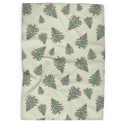 Tiny Trees Christmas Tea Towel (White)