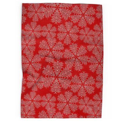 Red Festive Tea Towel