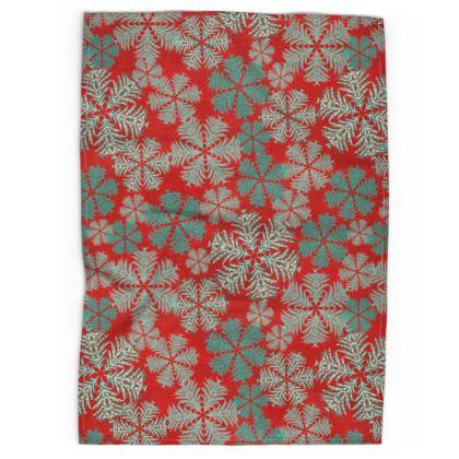 Snowflakes Tea Towel (Red/Aqua)