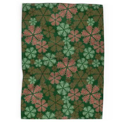 Snowflakes Tea Towel (Red/Green)