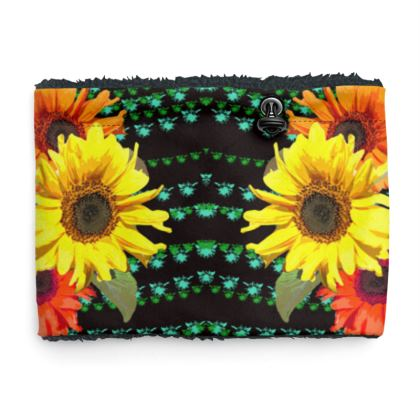 Sherpa Snood Neck with Sunflower on Black