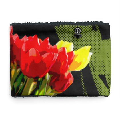 Sherpa Snood Neck - Red Tulip on Black
