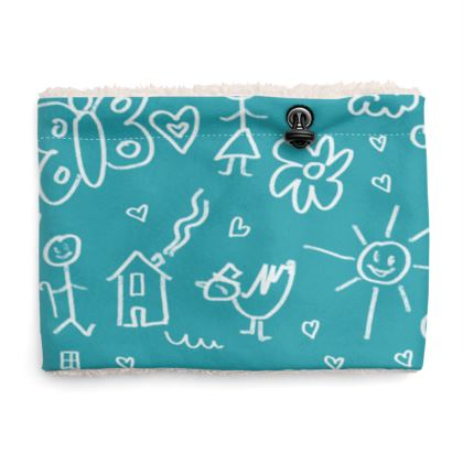 Sherpa Snood Neck with Doodles Pattern in Aqua