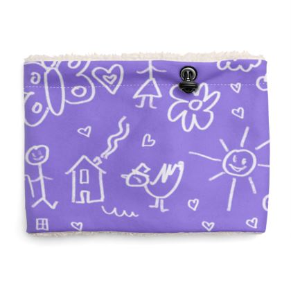 Sherpa Snood Neck with Doodles Pattern in Purple