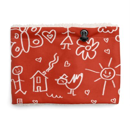 Sherpa Snood Neck with Doodles Pattern in Red