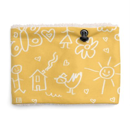 Sherpa Snood Neck with Doodles Pattern in Yellow