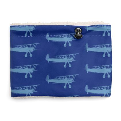 Sherpa Snood Neck with Planes Pattern in Blue