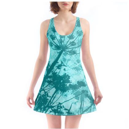Floral Design Chemise -  Aqua Blue