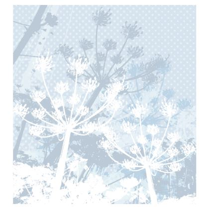 Slip Dress - Florals in Pale Grey and White