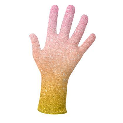 Pink Orange Glitter Gloves