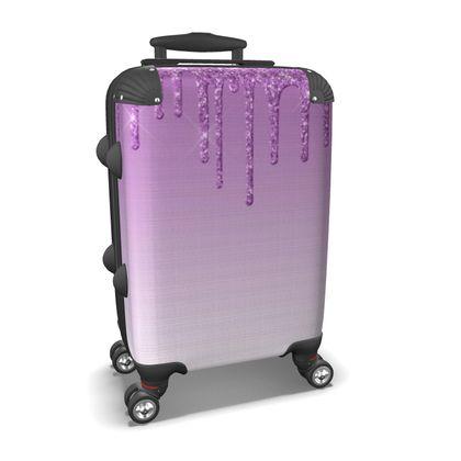 Purple Dripping Glitter Suitcase